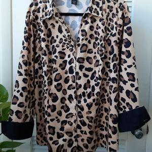 Lane Bryant Cotton Leopard Blouse